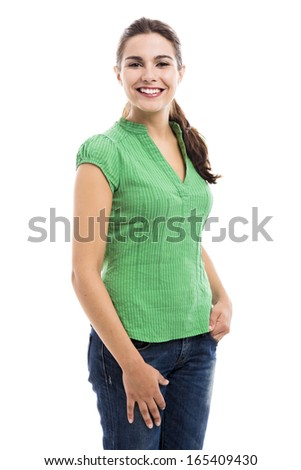 Beautiful young woman smilling, isolated over a white background - stock photo