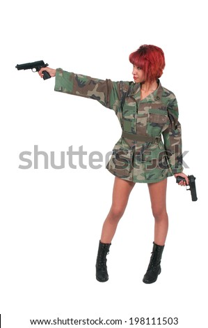 Beautiful young woman soldier with a gun