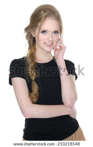 beautiful young woman standing over white background - stock photo