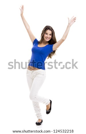Beautiful young woman standing with her arms open, isolated over a white background - stock photo