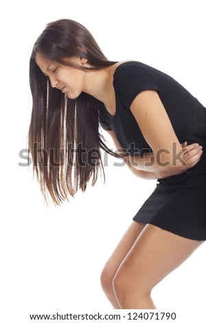 beautiful young woman stomach ache - stock photo