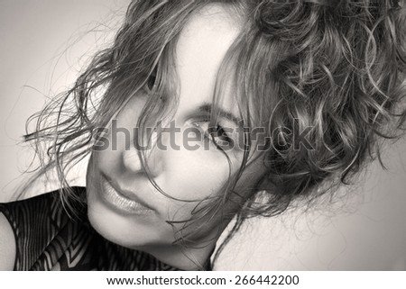 beautiful young woman. stylish hairstyle, make-up art. vivid emotions . gorgeous long, wavy Hair - stock photo