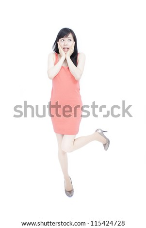 beautiful young woman surprised, isolated on white background - stock photo
