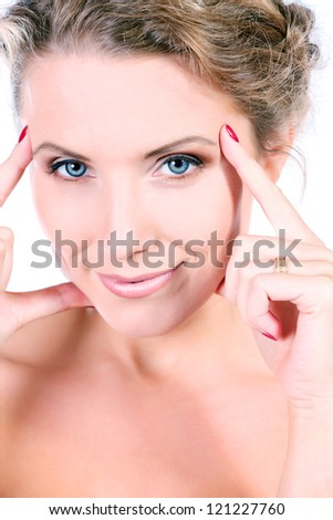 Beautiful young woman taking care of her health. Isolated over white background - stock photo