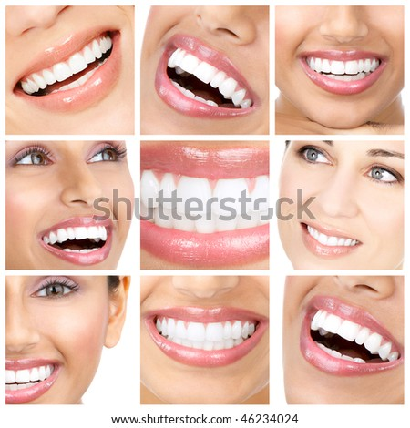 Beautiful young woman teeth. Close up