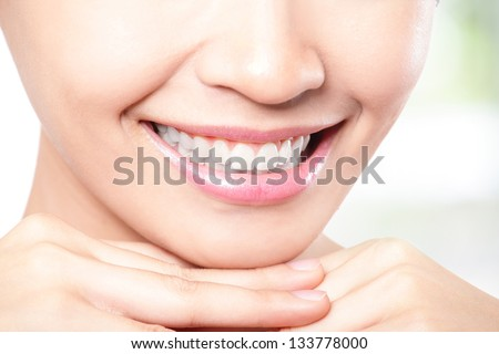Beautiful young woman teeth close up. Isolated over green background, asian beauty model - stock photo