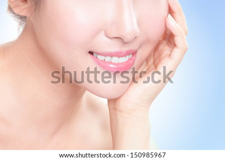 Beautiful young woman teeth close up with hand. Isolated over blue background, asian beauty model