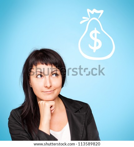 Beautiful young woman think about money on blue background - stock photo