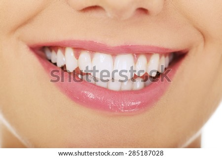 Beautiful young woman toothy smile.  - stock photo