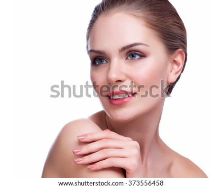 Beautiful Young Woman Touching Her Face.Fresh Healthy Skin.Isolated on White.  - stock photo