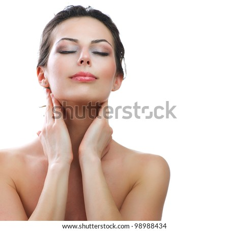 Beautiful Young Woman touching her Face. Skincare .Perfect Skin. Spa isolated on a white background - stock photo