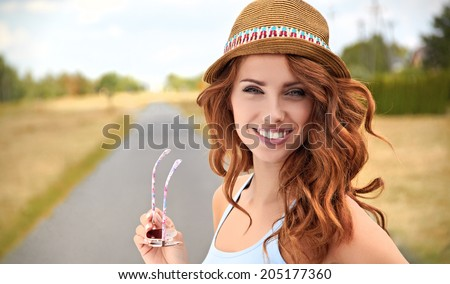 beautiful young woman traveling - stock photo
