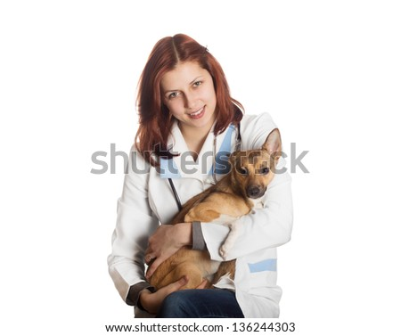 beautiful young woman veterinarian on white background isolated