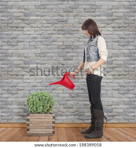 beautiful young woman watering a plant - stock photo