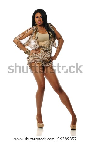 Beautiful Young Woman wearing a short dress on a white background - stock photo