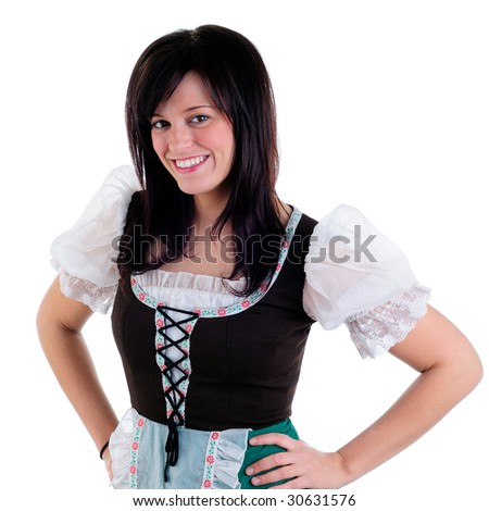Beautiful Young Woman Wearing A Traditional German Dirndl Costume