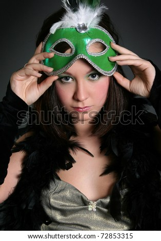 beautiful young woman wearing mask
