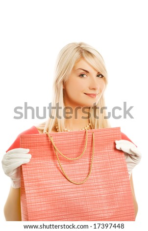 Beautiful young woman with a bag. Isolated on white background - stock photo