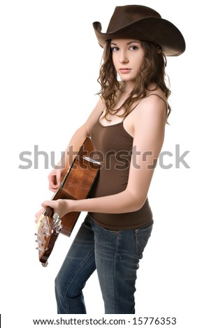 Beautiful young woman with a cowboy hat and a guitar isolated against a white background