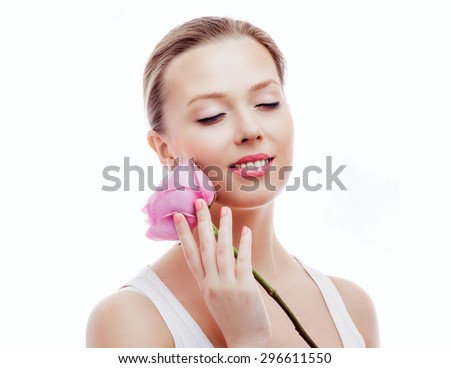 beautiful young woman with a rose, isolated against white background - stock photo