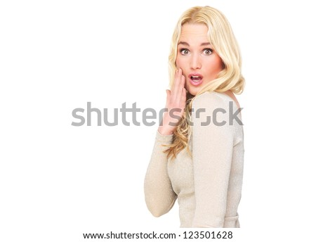 Beautiful young woman with a surprised expression on her face. Horizontal portrait with possibility of copy space. Isolated on white background - stock photo