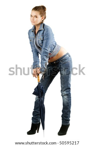 Beautiful young woman with a umbrella. Isolated - stock photo