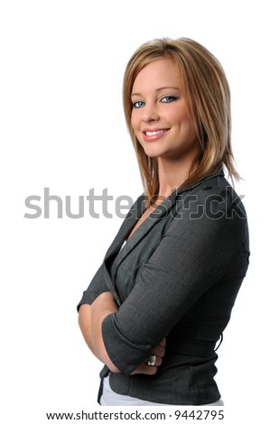 Beautiful young woman with arms folded isolated over a white background