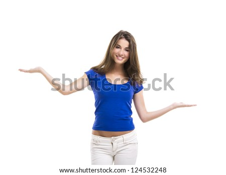 Beautiful young woman with arms open making a scale, isolated over a white background - stock photo