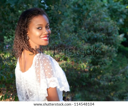 Beautiful Young Woman With Big Smile - stock photo