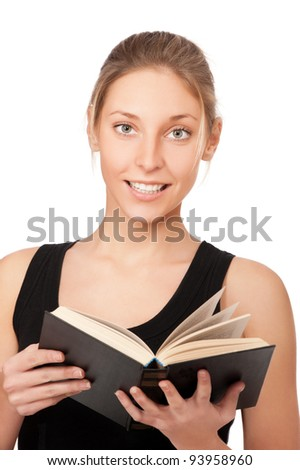 beautiful young woman with book isolated on white background