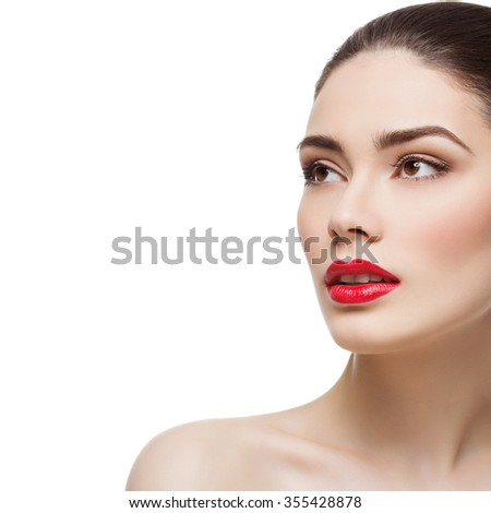 Beautiful young woman with bright red lips. Isolated over white background. Square compostition. Copy space. - stock photo