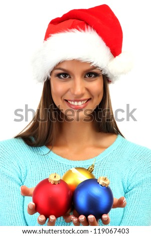 beautiful young woman with christmas balls, isolated on white