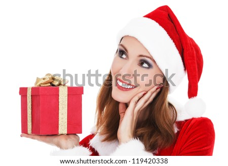 Beautiful young woman with Christmas present isolated on white background.