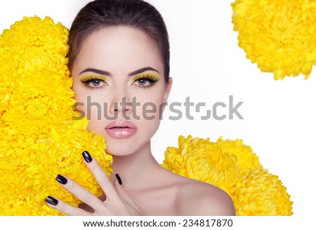 Beautiful Young Woman with Clean Fresh Skin close up portrait. Manicured nails. Isolated on white background. Studio. - stock photo