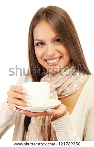 beautiful young woman with cup of coffee, isolated on white