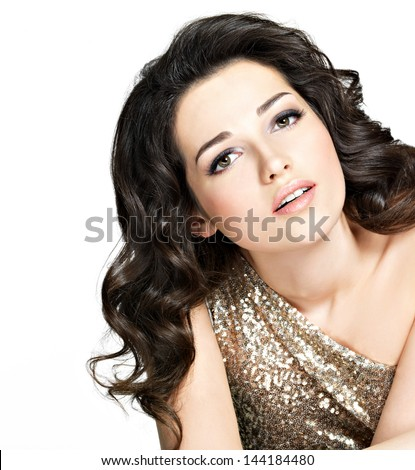 ... woman with short curly hairstyle. On white background - stock photo