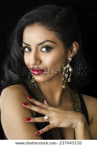 Beautiful young woman with exotic looks.   - stock photo
