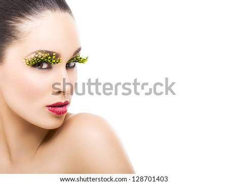 Beautiful Young Woman With False Eyelashes