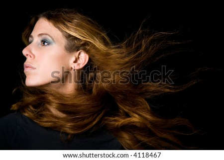 beautiful young woman with flowing hair