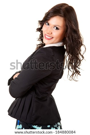 beautiful young woman with folded arms, smiling