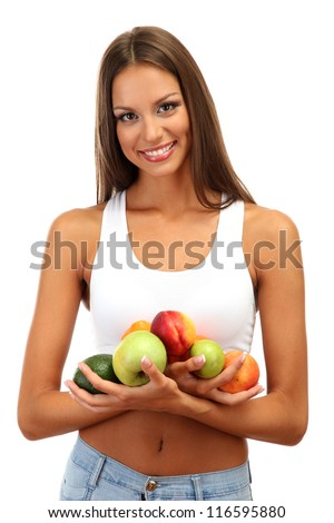 beautiful young woman with fruits isolated on white