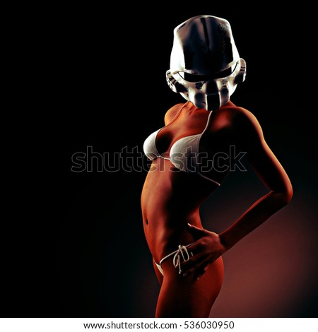 Beautiful young woman with futuristic helmet and bikini