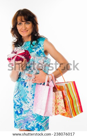 beautiful young woman with gifts