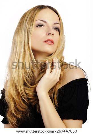 Beautiful young woman with layered hairstyle