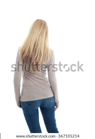 beautiful young woman with long blonde hair wearing a long sleeved cream shirt and gold necklace. facing away from camera,  isolated on white background.