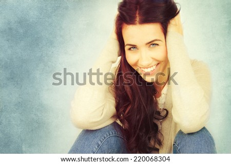 Beautiful young woman with long brown hair.  - stock photo