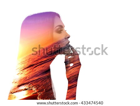 Beautiful young woman with long hair isolated on white - stock photo