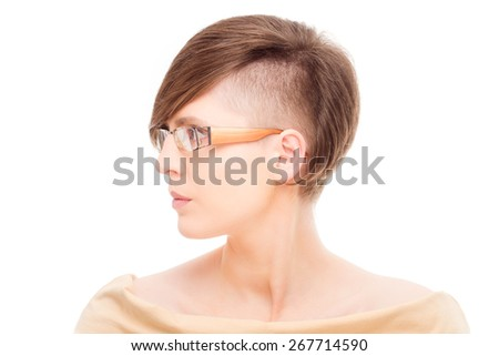 beautiful young woman with modern short hair - isolated high key portrait - stock photo
