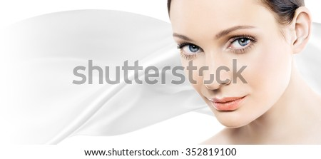 Beautiful young woman with perfect natural makeup look. Space for text. Banner.  - stock photo