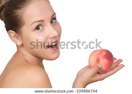 Beautiful young woman with perfect skin hold peach in hand. Spa skin care pretty girl isolated on white background